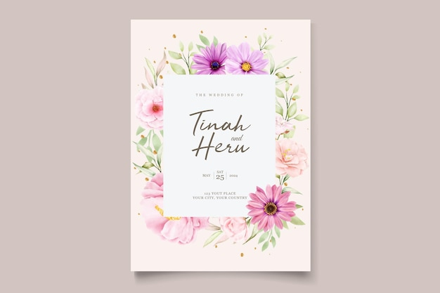Watercolor chrysanthemum wedding 초대장 세트
