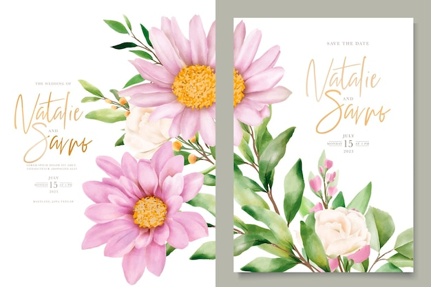Акварельный хризантем свадебный набор пригласительных билетов