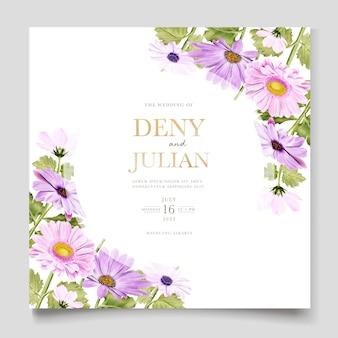 Carta di invito matrimonio acquerello crisantemo