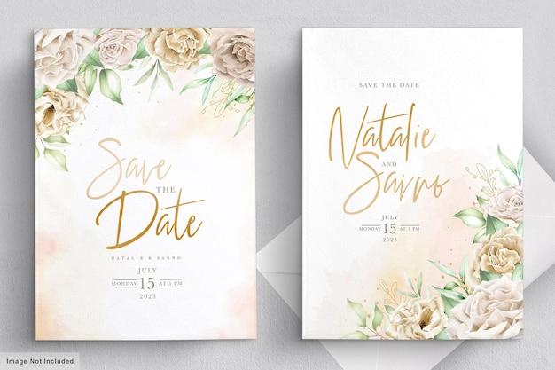 Свадебное приглашение с акварельными хризантемами