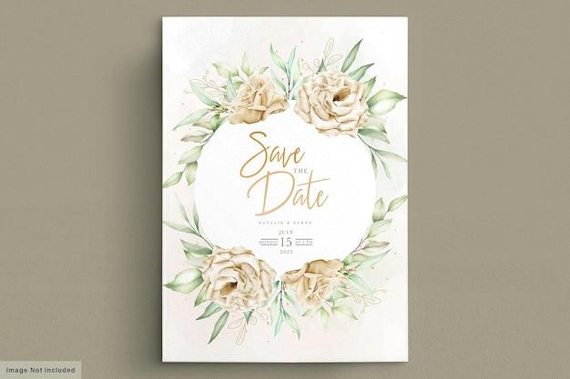 水彩菊の結婚式の招待カード