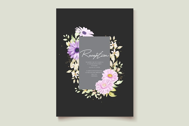 Watercolor chrysanthemumwedding招待状