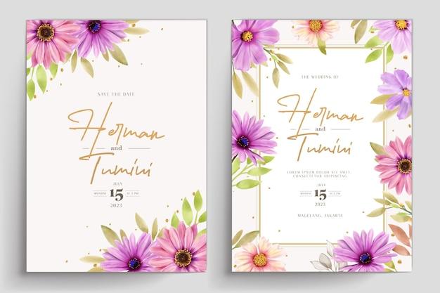 Watercolor chrysanthemum wedding 초대장