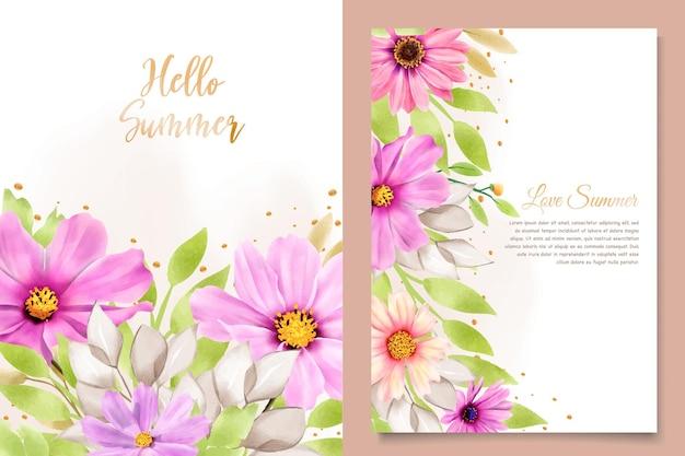 Biglietto d'invito matrimonio crisantemo acquerello Vettore gratuito