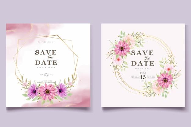 Акварельный хризантем свадебный пригласительный билет