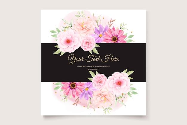 Watercolor chrysanthemum wedding invitation card