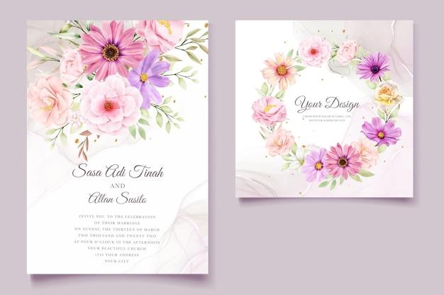 Watercolor chrysanthemum wedding invitation card Premium Vector