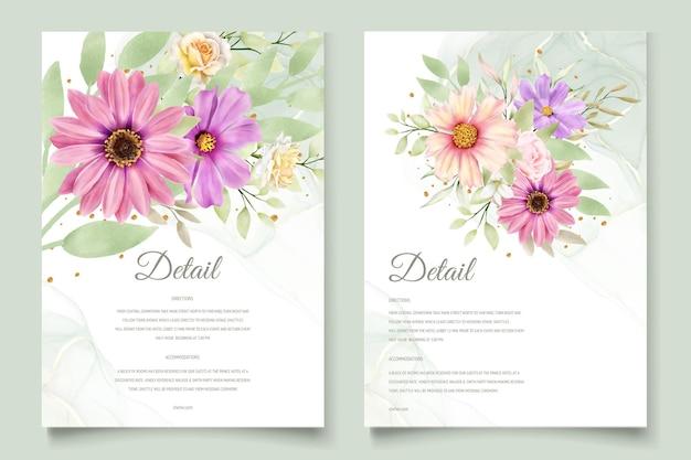 Watercolor chrysanthemum wedding invitation card Free Vector