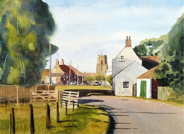 Watercolor church in the village illustration