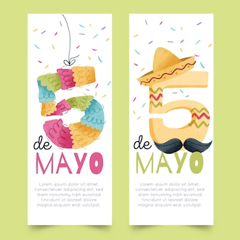 Watercolor cinco de bayo banners