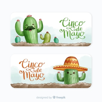 Watercolor cinco de mayo banners