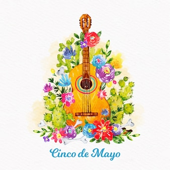 Watercolor cinco de mayo concept