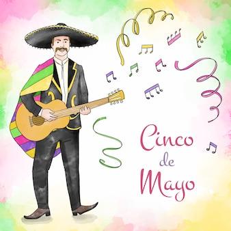 Акварель музыканта синко де майо