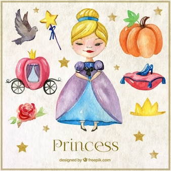 Watercolor cinderella character and elements