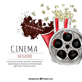 Watercolor cinema background with film reel