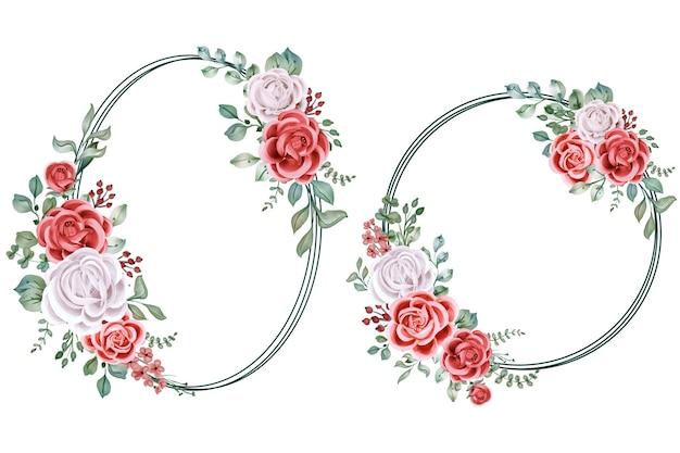 Watercolor circle arrangement of rose flower