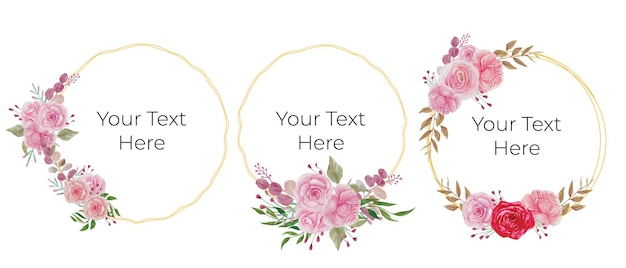 Watercolor circle frames with flowers