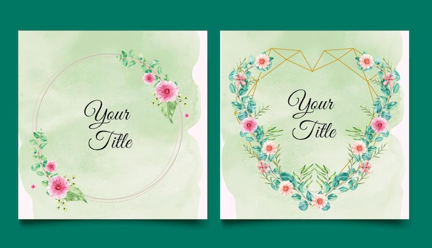 Watercolor circle and heart gold frames with flowers