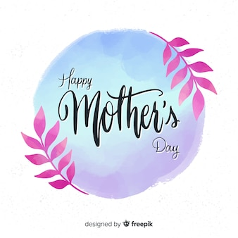 Watercolor circle mother's day background