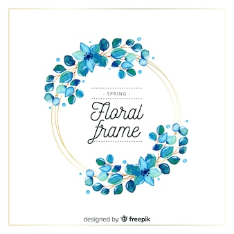 Watercolor circle spring floral frame