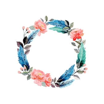 Watercolor circle with floral and feather