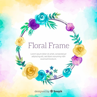 Watercolor circled frame with flowers background