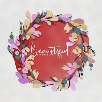 여름 꽃과 텍스트 중앙 흰색 복사 공간 수채화 원형 꽃 화환. 손으로 그린 된 화 환 꽃. 청첩장