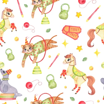 Watercolor circus animal seamless pattern with horse tiger jumping through circle