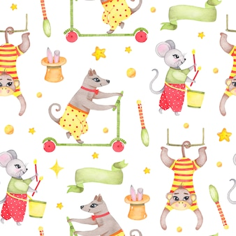 Watercolor circus animal seamless pattern with monkey dog mouse rabbit in hat isolated