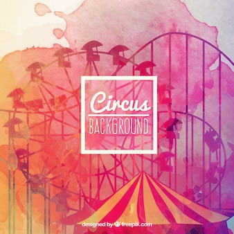 Watercolor circus background in colorful style