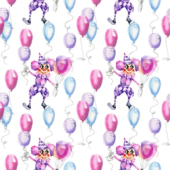 Watercolor circus clowns with air balloons seamless pattern