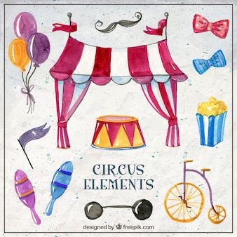 Watercolor circus element collection
