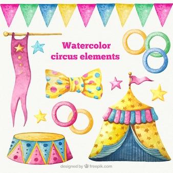 Watercolor circus elements