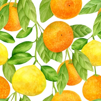 Watercolor citrus seamless pattern