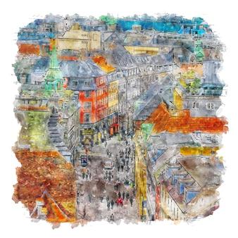 Watercolor cityspace cityspace print cityspace artwork