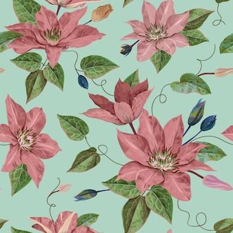 수채화 클레 마티스 꽃입니다. 벽지, 인쇄, 직물, 섬유에 대 한 꽃 열 대 완벽 한 패턴입니다. 피는 보라색 꽃과 여름 배경입니다. 벡터 일러스트 레이 션