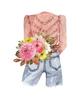 Акварельная наклейка на одежду теплая куртка с цветами