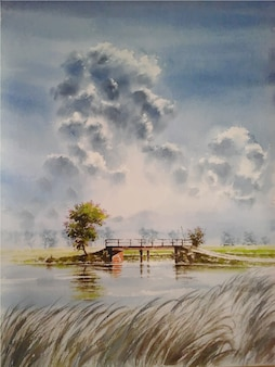 Watercolor cloud sky with grass painting