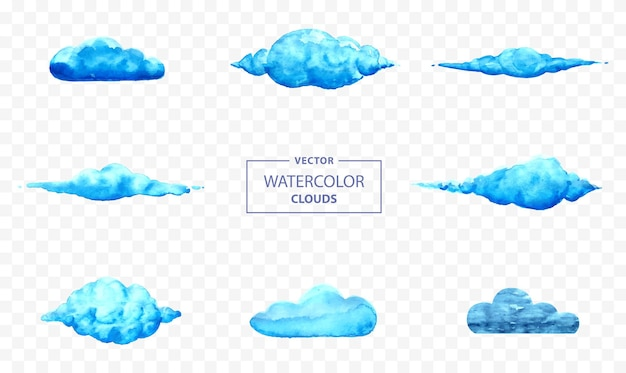 Watercolor cloud vector illustration set with transparent background hand painted abstract clouds