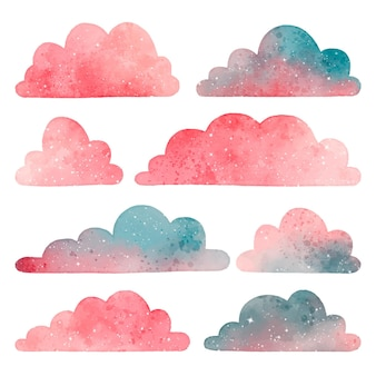 Watercolor clouds collection