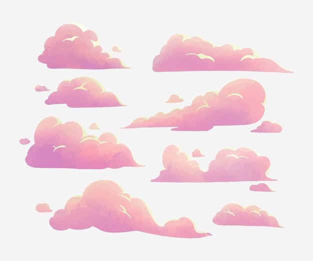 Коллекция акварельных облаков