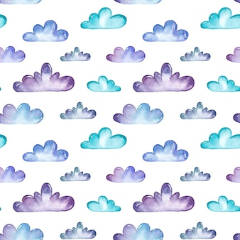 Watercolor clouds seamless pattern