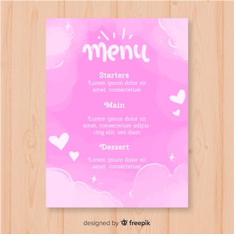 Watercolor clouds valentine menu template