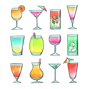 Watercolor cocktail collection concept