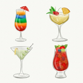 Watercolor cocktail collection