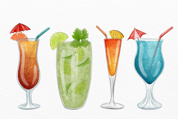 Watercolor cocktail illustration collection