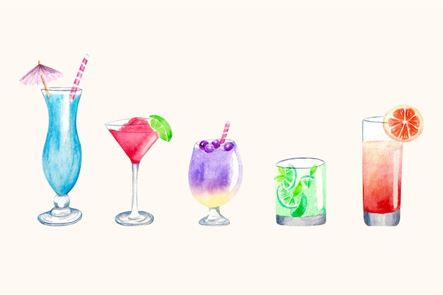 Watercolor cocktail illustration set