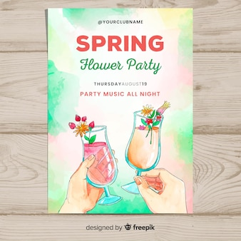 Watercolor cocktail spring party poster