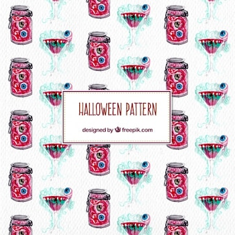 Watercolor cocktail terrifying pattern for halloween