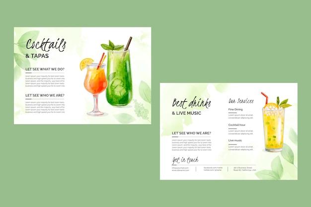 Watercolor cocktails brochure template